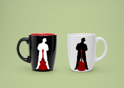 Musician merchandise, cup/mug with brand/logo printed on it