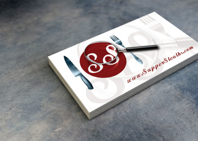 Supper Sleuths Mystery Dinner Games business card with logo/brand