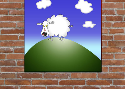 Kids wall art of cartoon style sheep on top of a hill