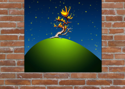 Kids wall art of cartoon style burning bush as depicted in the Bible