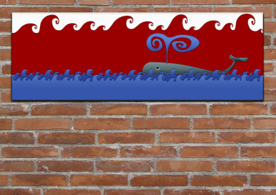 Kids wall art of cartoon style Jonah's Whale among waves