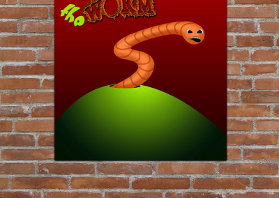 Kids wall art of cartoon style earth worm emerging from a hole in the ground atop a hill