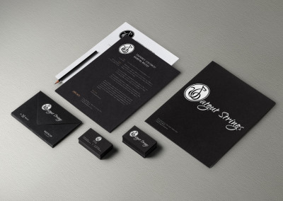 Catgut Strings Music Group logo and brand design and identity on stationary, business card, and other print media