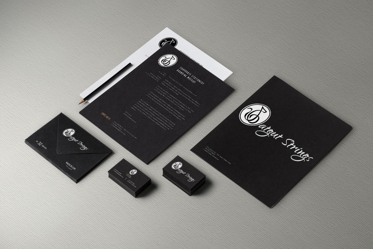 Catgut strings music group logo and brand identity design the catgut strings music group logo and brand design and identity on stationary business card magicingreecefo Images