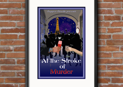 At the Stroke of Murder Murder Mystery Dinner Game Custom Designed Product Cover for Digital & Print Media.