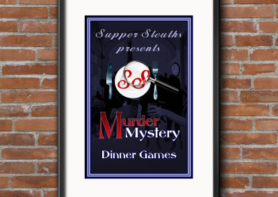 Supper Sleuths Murder Mystery Dinner Games company poster with brand identity for print and digital media.