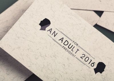 The political movement, An Adult for President 2016, business card with custom logo/brand design
