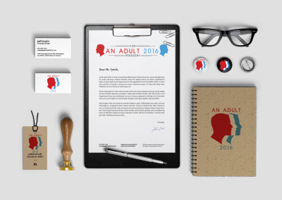 The political movement, An Adult for President 2016, custom logo/brand design on stationary, envelope, notebook, pins and more
