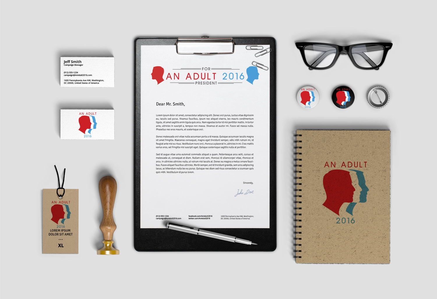 An Adult for President 2016 Logo and Brand Identity Design