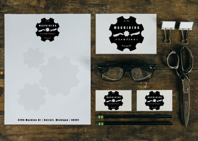 Vintage brand/logo identity including stationary & business cards for local machine shop business.