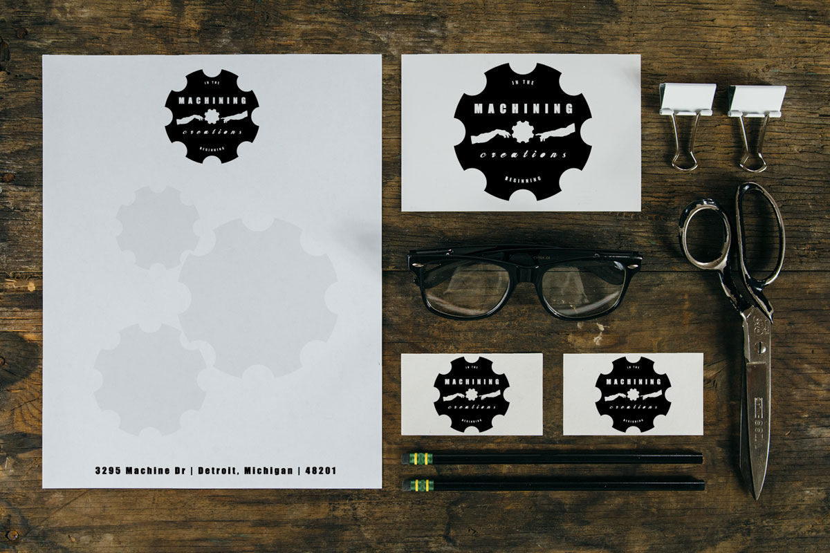 Machining creations machine shop business logobrand identity vintage brandlogo identity including stationary business cards for local machine shop business magicingreecefo Choice Image